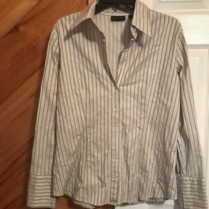 Silver striped button down shirt